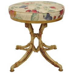 Metal Faux Bamboo Chinese Chippendale Swivel Stool Yellow Hollywood Regency