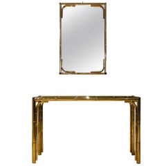 Metal Faux Bamboo Set of Console Table with Mirror, Italy, 1970s