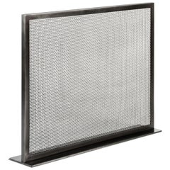 Fireplace Screen in Metal with a Blackened Steel Finish Customizable