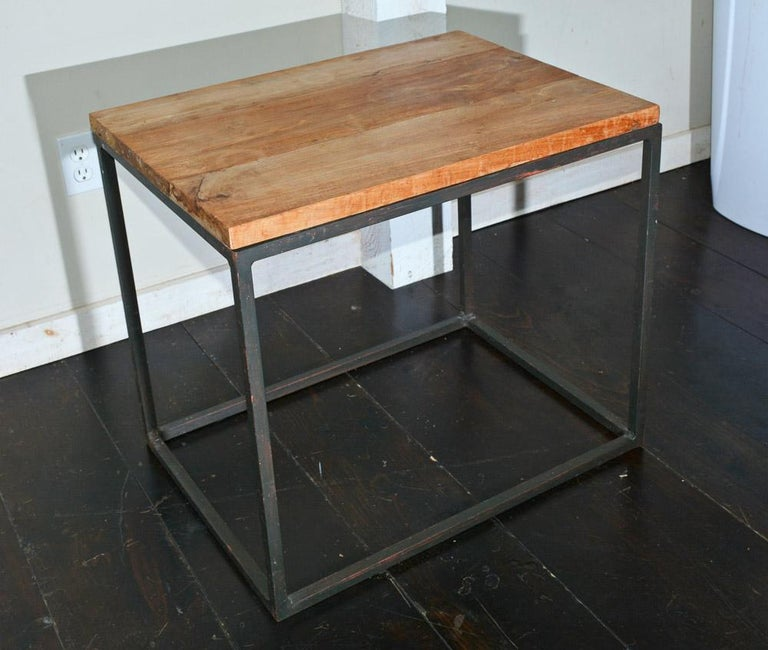 American Metal Frame Geometric Cube Table For Sale