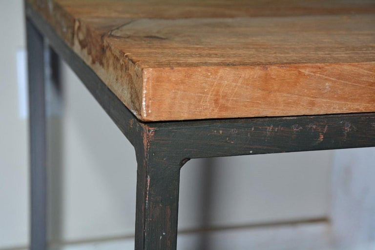 20th Century Metal Frame Geometric Cube Table For Sale