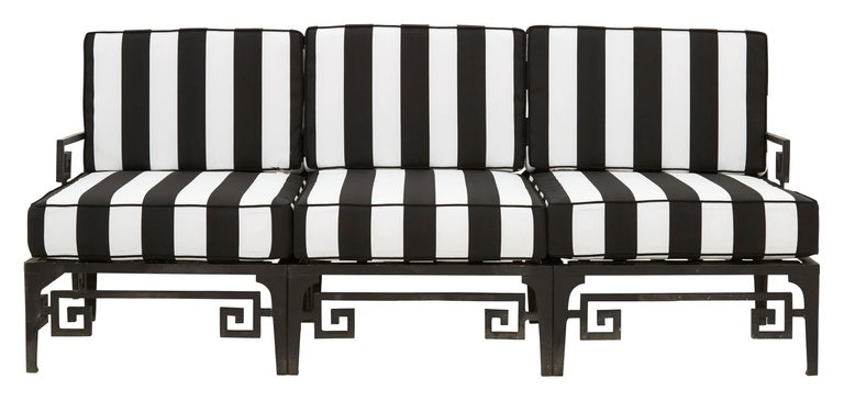 Metal Frame Greek Key Outdoor Patio Sofa with Black and White Stripe  Cushions