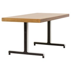 Metal Frame Writing Table Oak Veneer Table Top
