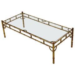 Metal Gilt Faux Bamboo Rectangular Frame Glass Top Coffee Table