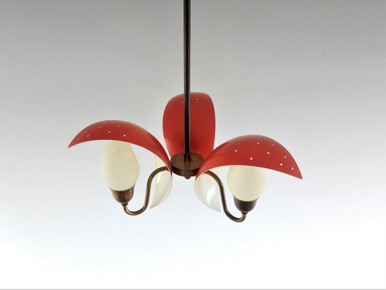 Mid-Century Modern Metal, Glass and Brass Chandelier by Bent Karlby for Fog & Mørup, Denmark, 1950s For Sale