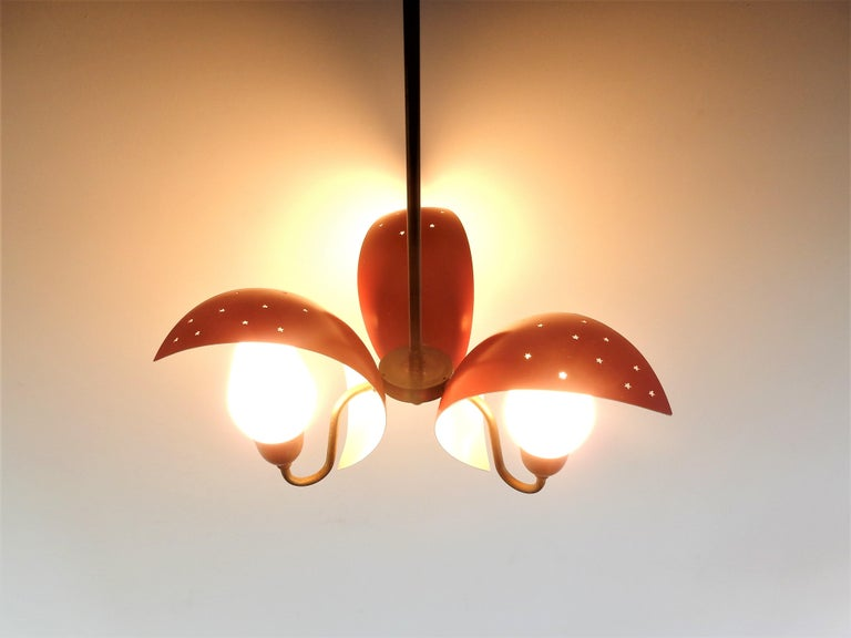 Metal, Glass and Brass Chandelier by Bent Karlby for Fog & Mørup, Denmark, 1950s For Sale 1