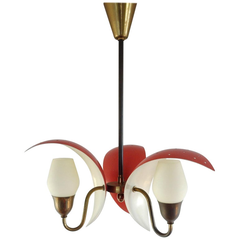 Metal, Glass and Brass Chandelier by Bent Karlby for Fog & Mørup, Denmark, 1950s For Sale