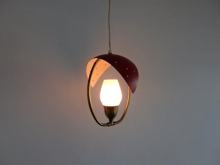 Mid-20th Century Metal, Glass and Brass Pendant Lamp, Bent Karlby for Fog & Mørup or Lyfa Denmark For Sale