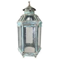 Metal & Glass Hanging Lantern C. 1900