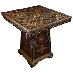 Metal Inlay and Camel Bone Moroccan Dinning Table, Square Top
