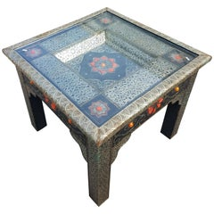 Metal Inlay and Camel Bone Moroccan Side Table, Square