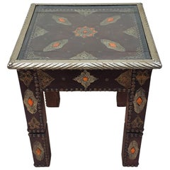 Metal Inlay and Camel Bone Moroccan Side Table, Square Top