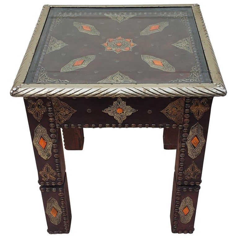Metal Inlay And Camel Bone Moroccan Side Table Square Top