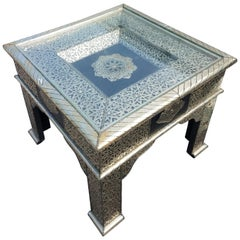Metal Inlay and Leather Patches Moroccan Side Table, Square