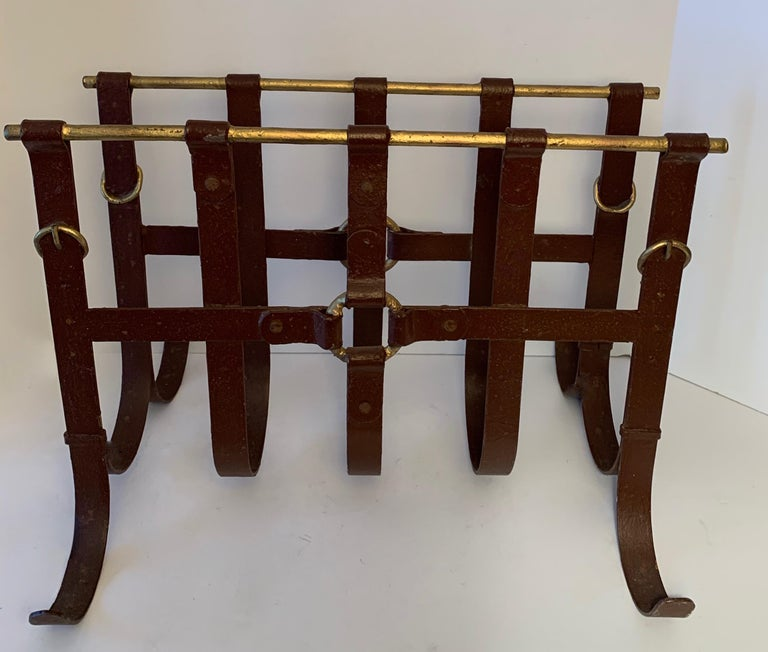 Mid-Century Modern Metal Magazine Rack in the Manner of Jacques Adnet For Sale