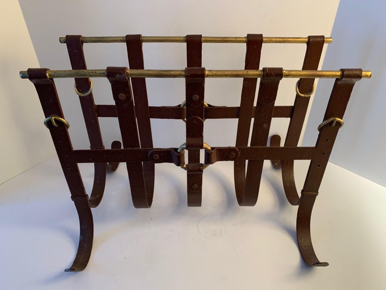 Metal Magazine Rack in the Manner of Jacques Adnet In Good Condition For Sale In Los Angeles, CA
