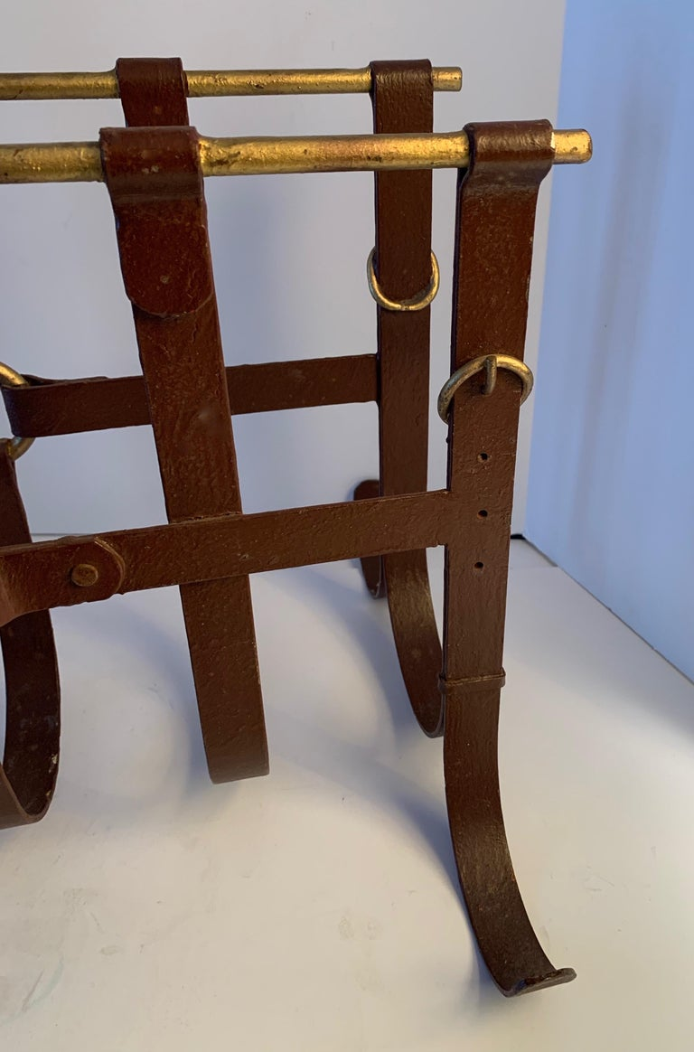 20th Century Metal Magazine Rack in the Manner of Jacques Adnet For Sale