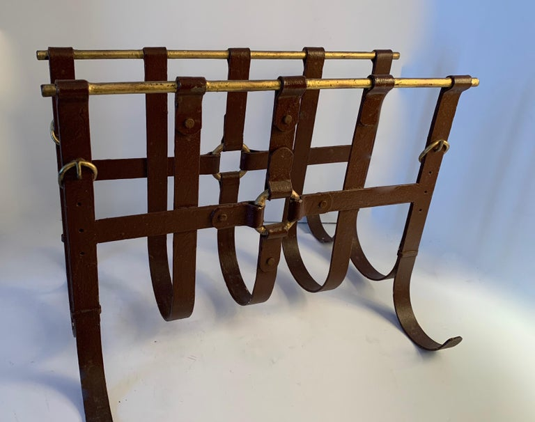 Metal Magazine Rack in the Manner of Jacques Adnet For Sale 1