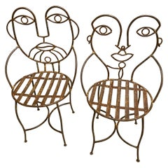 Metal Midcentury Cafe Chairs with Male and Female Faces