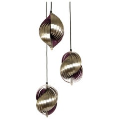 Metal Pendant Designed by Henri Mathieu in Silver and Purple, 1970s