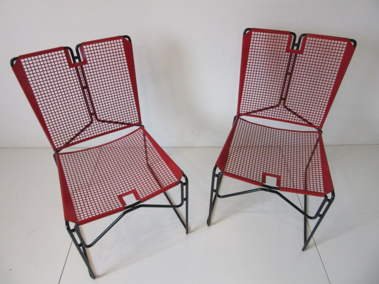 Metal Perforated Chairs in the Style of Mathieu Mategot  For Sale 5