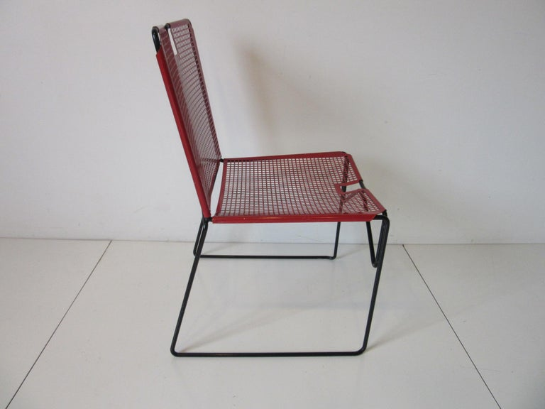 Mid-Century Modern Metal Perforated Chairs in the Style of Mathieu Mategot  For Sale