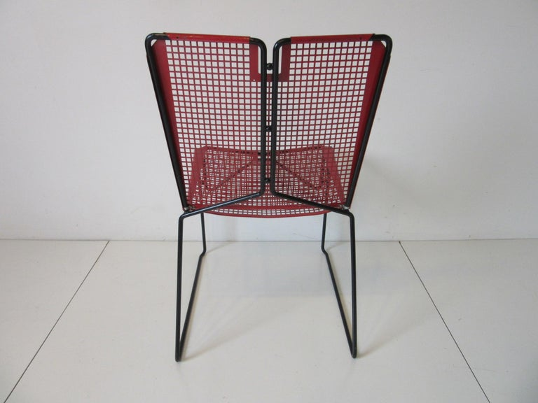 French Metal Perforated Chairs in the Style of Mathieu Mategot  For Sale