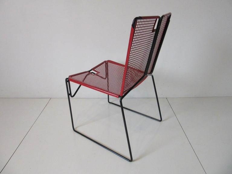 Metal Perforated Chairs in the Style of Mathieu Mategot  In Good Condition For Sale In Cincinnati, OH