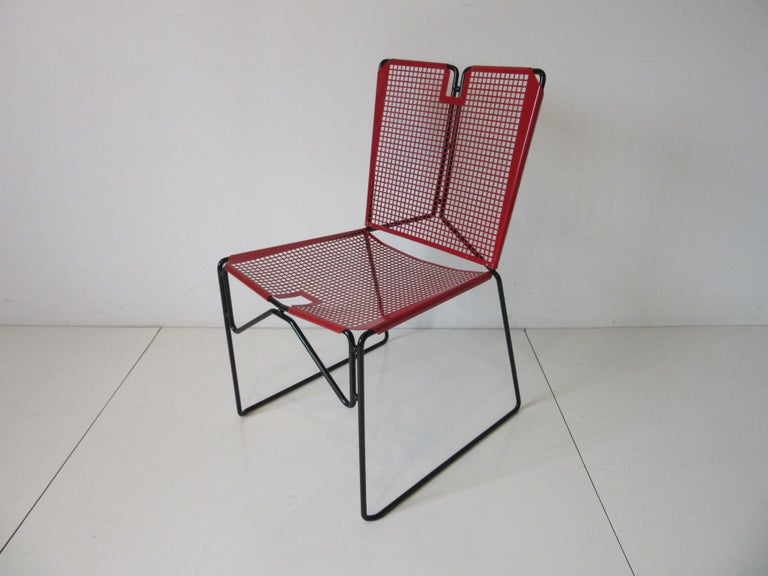 20th Century Metal Perforated Chairs in the Style of Mathieu Mategot  For Sale