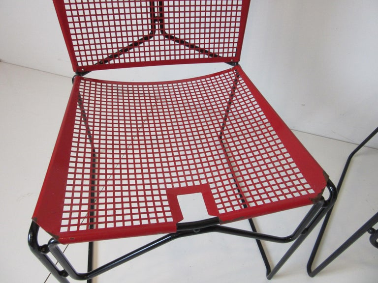 Metal Perforated Chairs in the Style of Mathieu Mategot  For Sale 1