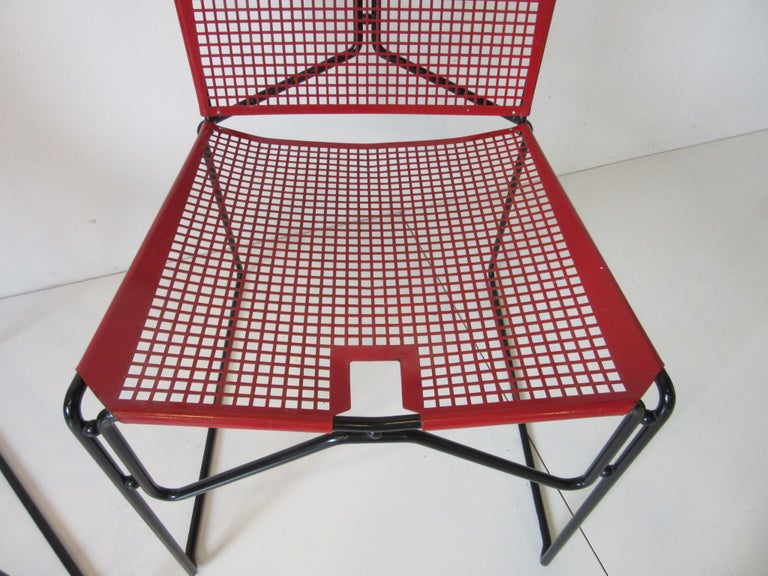 Metal Perforated Chairs in the Style of Mathieu Mategot  For Sale 3