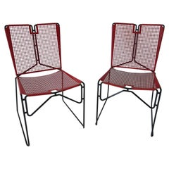 Metal Perforated Chairs in the Style of Mathieu Mategot