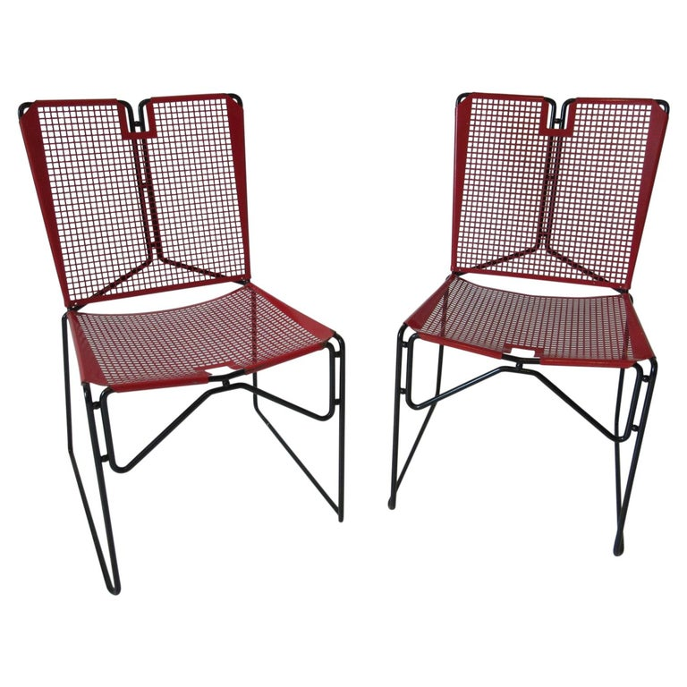 Metal Perforated Chairs in the Style of Mathieu Mategot  For Sale