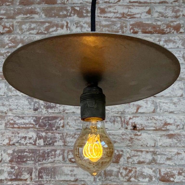 Metal Plate Vintage Industrial Pendant Lights For Sale 3