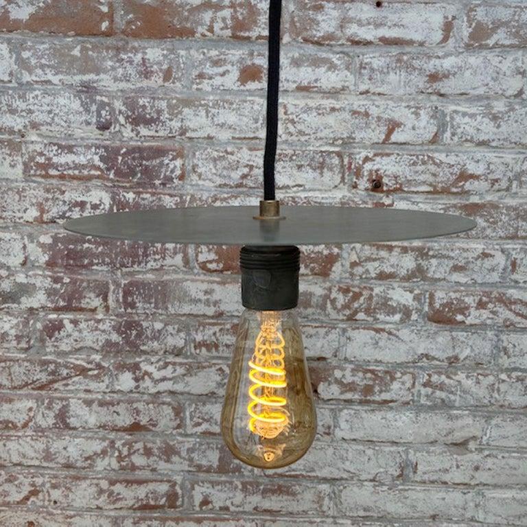 Metal Plate Vintage Industrial Pendant Lights For Sale 4
