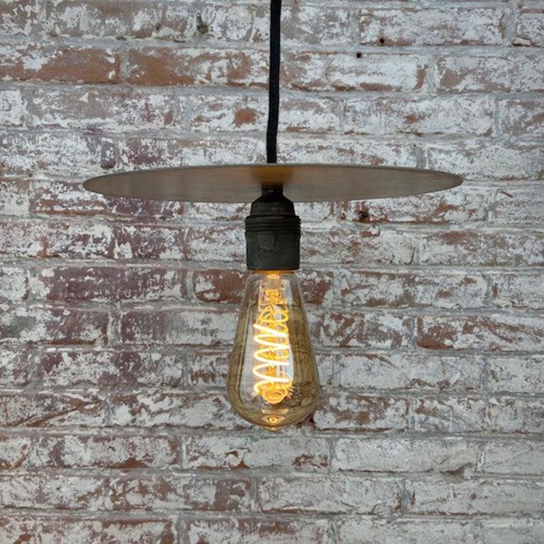 Metal Plate Vintage Industrial Pendant Lights For Sale 5