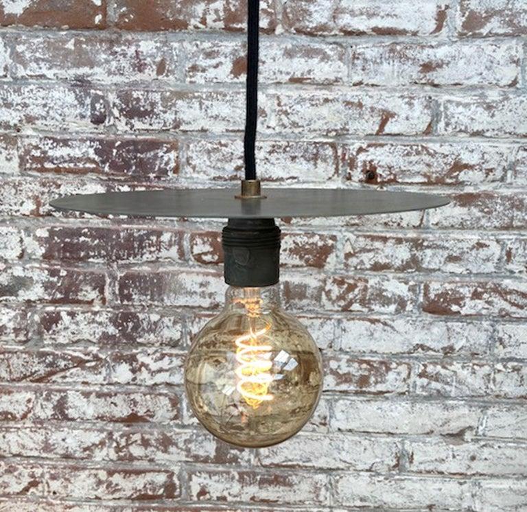 Metal Plate Vintage Industrial Pendant Lights For Sale 6