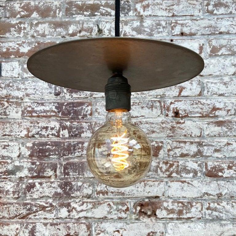 Metal Plate Vintage Industrial Pendant Lights For Sale 7