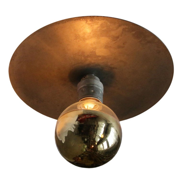 Metal Plate Vintage Industrial Pendant Lights In Good Condition For Sale In Amsterdam, NL
