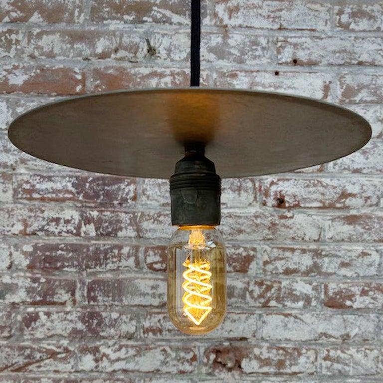 Metal Plate Vintage Industrial Pendant Lights For Sale 2
