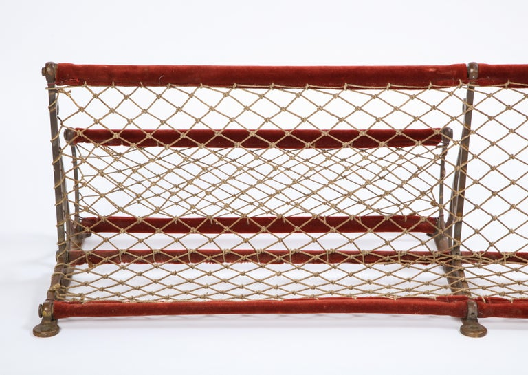 Metal, Plush and Netting Train Luggage Rack in Red, 20th Century For Sale 4