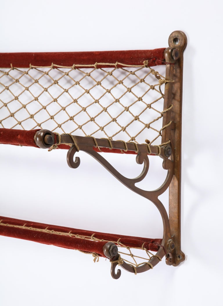 Metal, Plush and Netting Train Luggage Rack in Red, 20th Century For Sale 2