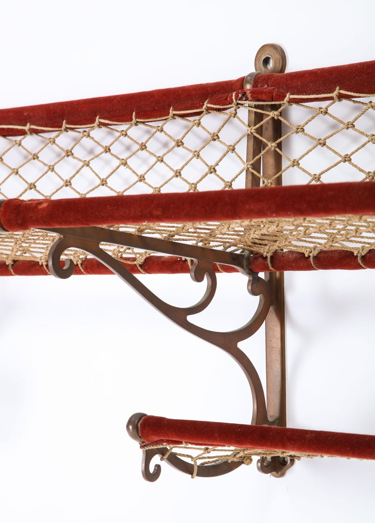 Metal, Plush and Netting Train Luggage Rack in Red, 20th Century In Good Condition For Sale In New York, NY