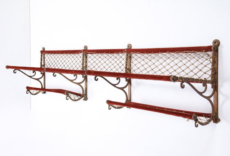 Metal, Plush and Netting Train Luggage Rack in Red, 20th Century For Sale 3