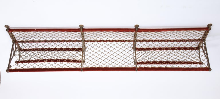 Metal, Plush and Netting Train Luggage Rack in Red, 20th Century For Sale 5