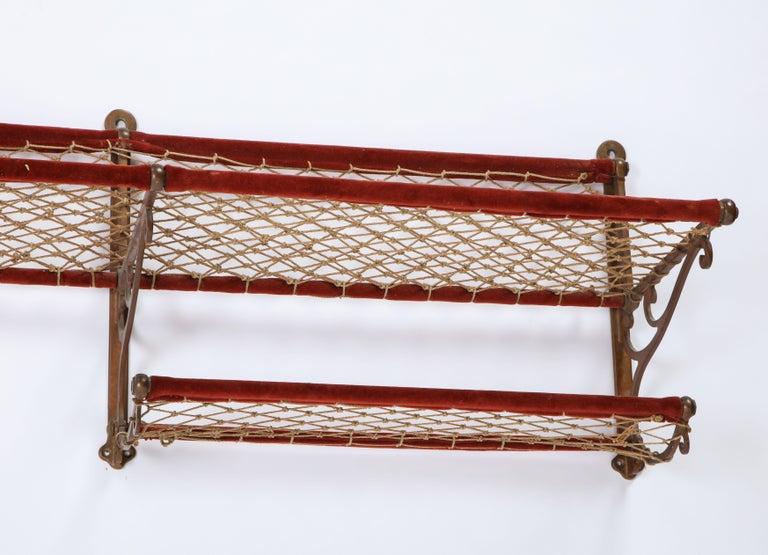 Metal, Plush and Netting Train Luggage Rack in Red, 20th Century For Sale 6