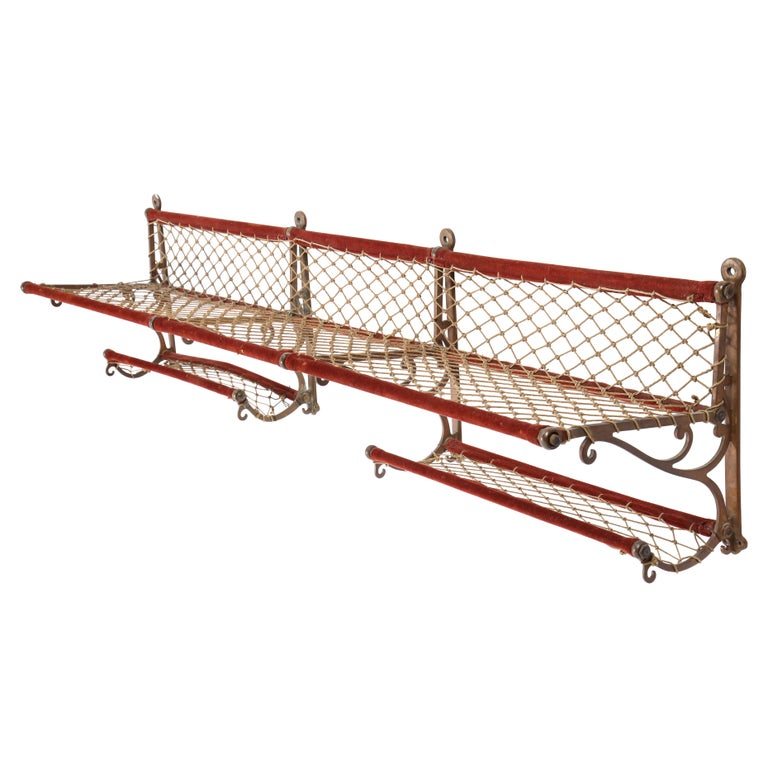 Metal, Plush and Netting Train Luggage Rack in Red, 20th Century For Sale