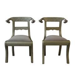 Metal Regency Style Side Chairs S/2