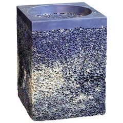 Metal Rock Blue Square Side Table or Stool Aluminum Foam by Michael Young