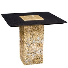 Metal Rock Gold Side Table with Black Wood Extension by Michael Young